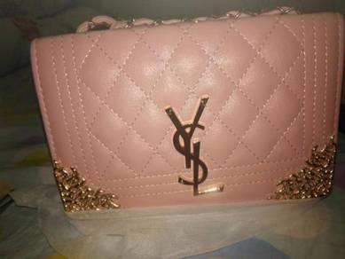 YSL ladies Sling Bag ( Pink / Black )