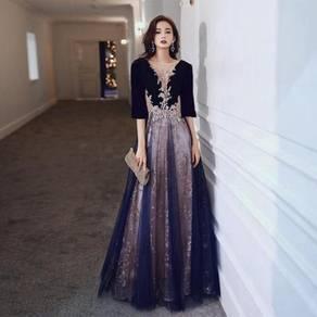 Gold blue evening wedding dress gown RBP1361
