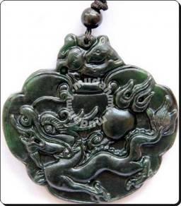 ABPJ-D050 Dark Jade Carved Dragon Pendant Necklace