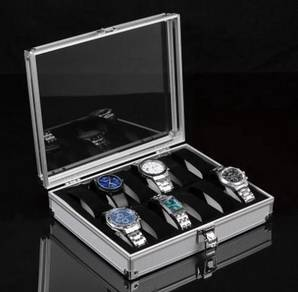 Elegant Aluminium Watch Box 12 Slots