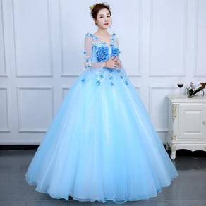 Blue pink long sleeve prom wedding dress RBMWD0201