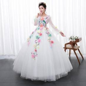 White long sleeve prom wedding dress RBMWD0200