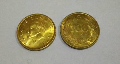 Turkey 100 lira 1993 aluminum - bronze unc