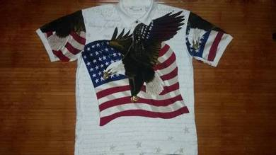 Authentic AMERICAN EAGLE USA FLAG SzL Polo Shirt