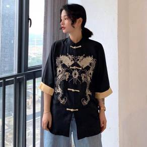 Chic embroidery dragon Tang Chinese shirt top