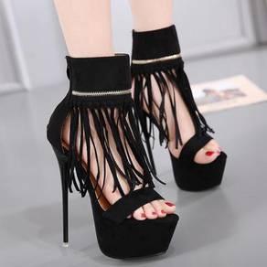 Black fringe tassel party heels shoe