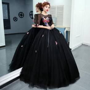 Black long sleeve prom wedding dress RBMWD0211