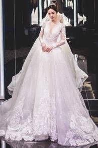 White long sleeve wedding bridal dress gown RB0819