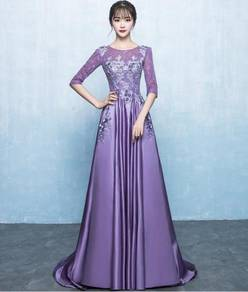 Purple long sleeve prom wedding dress RBMWD0210