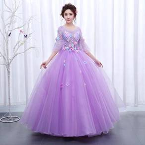 Purple long sleeve prom wedding dress RBMWD0213