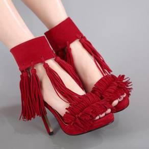 Black grey red tassel party heels shoe