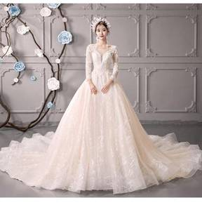 Ivory fishtail long sleeve wedding dress RB0824