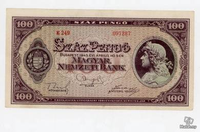 Hungary 1945 100 pengo vf