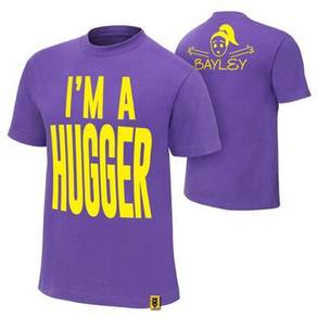 WWE WWF T Shirt Bayley Purple I am Hugger Baju