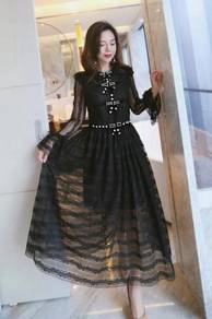 Black long sleeve lace prom party bridesmaid dress