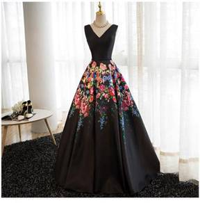 Black flower prom wedding dress gown RBP0852