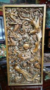 Chinese dragon Phoenix carving panel SLG