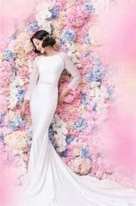 White long sleeve wedding dress gown RBMWD0085