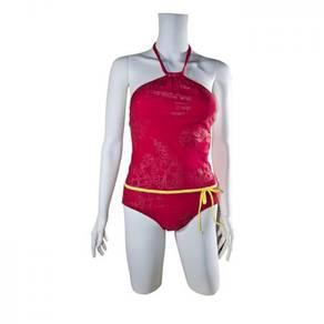 S114 Red Halter One Piece Swimsuit Swimwear XL