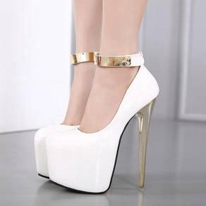 Black pink white pump ankle boots high party heels
