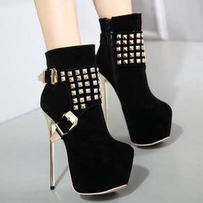 Black studded ankle boots high party heels shoe