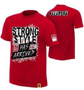 WWE WWF T Shirt Nakamura Red Baju Gusti Wrestling