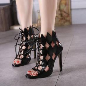 Black hollow ankle boots high party heels shoe