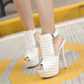 Black white studded high party heels shoe 2