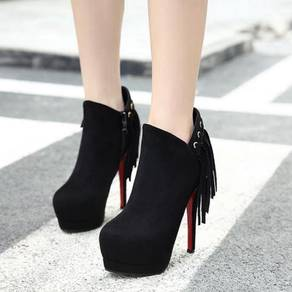 Black red pump ankle boots high party heels shoe
