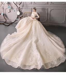Ivory fishtail long sleeve wedding dress RB0822