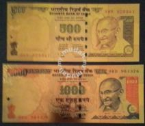 India gold plated souvenir note