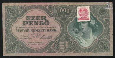 Hungary 1945 1000 pengo with red stamps vf