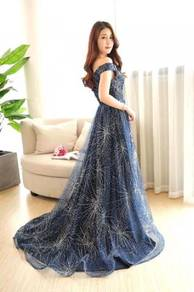 Blue gold glitter prom wedding dress RBP0851