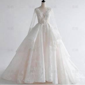 White long sleeve wedding bridal dress RB0821