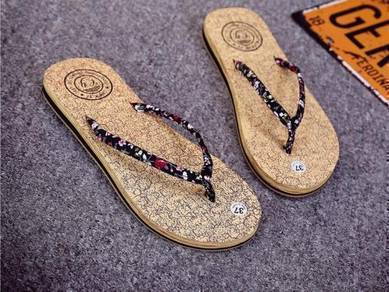 Selipar Lady Fashion Wood Grain Rubber Sole Sandal