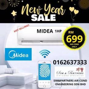 1hp aircond Midea Acson*Mega Sales 699 Promo