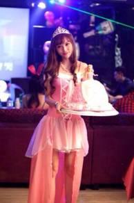 Pink princess prom party bridesmaid dress + crown