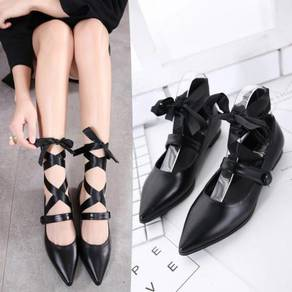 Black cream white pointed flat party shoe