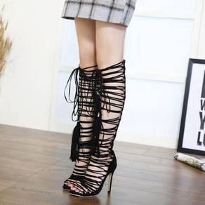 Black fringe tassel party high heels boots shoe