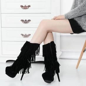Black red fringe tassel party high heels boots