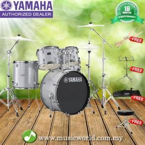 Yamaha rydeen 5 piece acoustic drum set silver wit