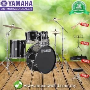Yamaha rydeen 5 piece acoustic drum set black with
