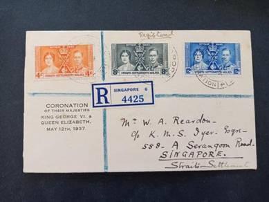 FDC Straits Settlements CORONATION 1937 No 2663