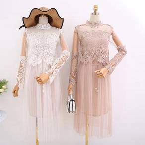 White or nude long sleeve prom party dress RBP0586