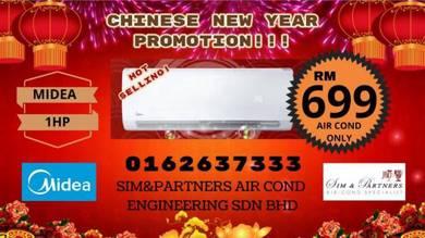 Aircond Midea ionizer 1hp*Promotion Cny 699