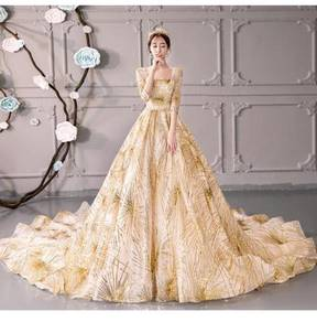 Gold galaxy long sleeve wedding dress gown RB0823