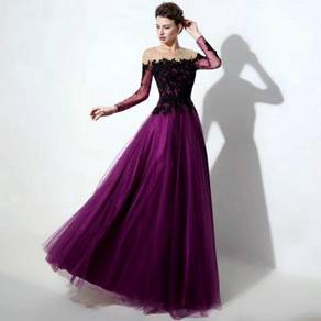 Purple blue red long sleeve prom wedding dress