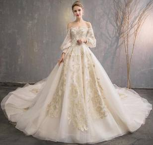 Gold fishtail long sleeve wedding dress RB0827