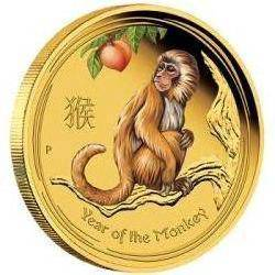 Lunar sii 2016 monkey 1/4 oz gold proof coloured