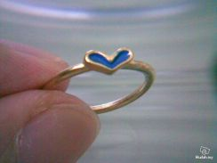 ABRGM-L002 Love Shape Blue Color Golden Ring Sz 5